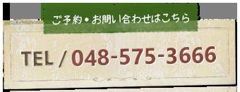 ご予約・お問い合せはこちら TEL/048-575-3666